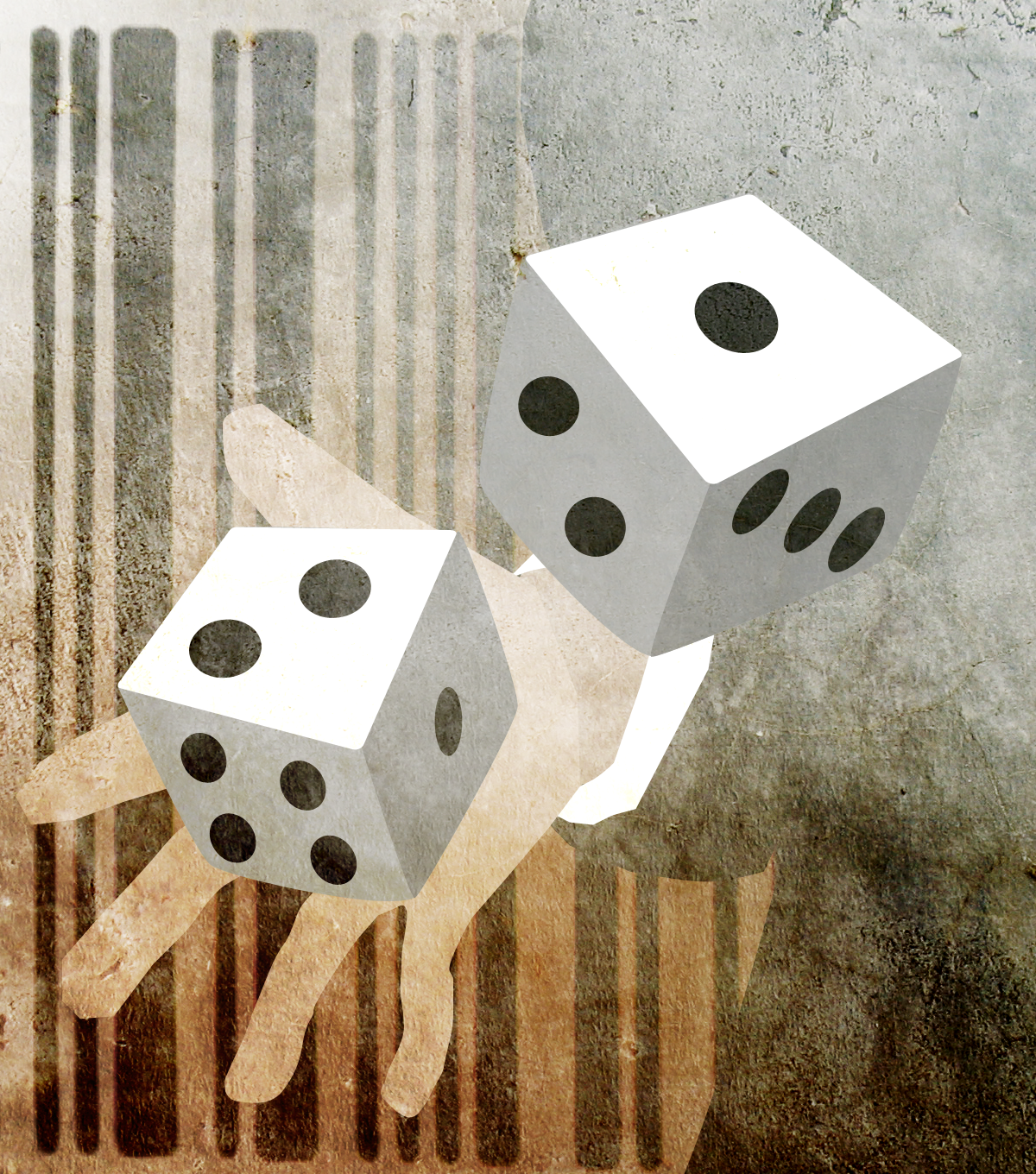 two dice being rolled