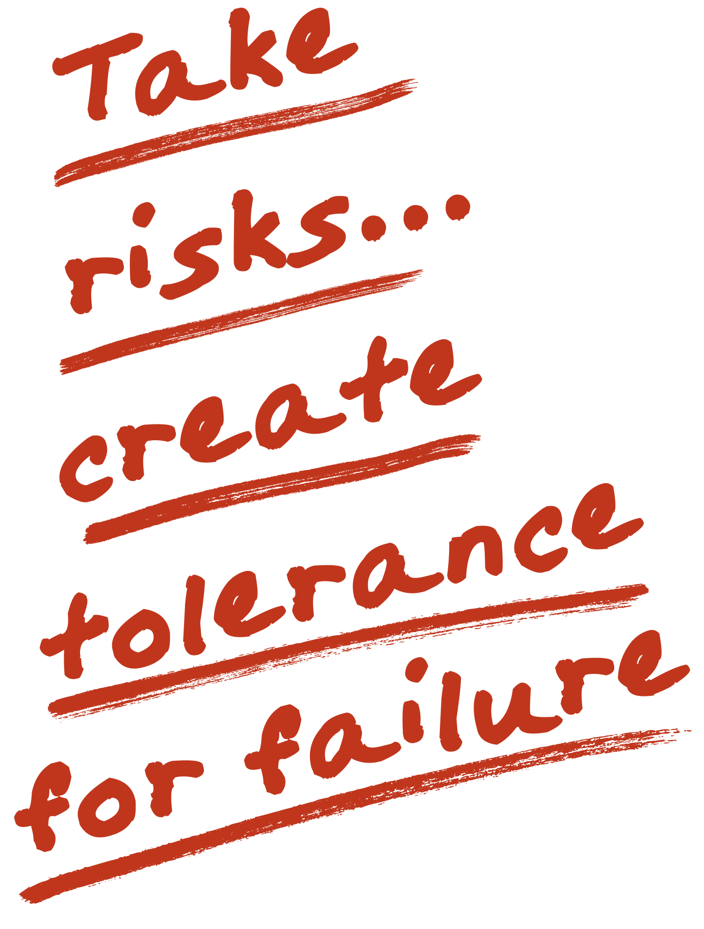 Take risks… create tolerance for failure