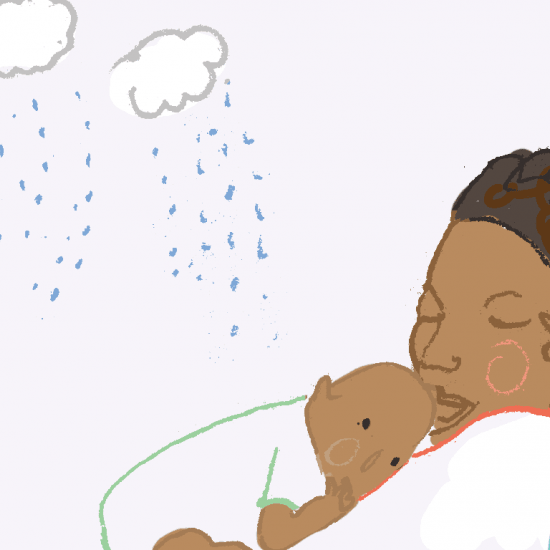 Illustration of a woman holding a baby