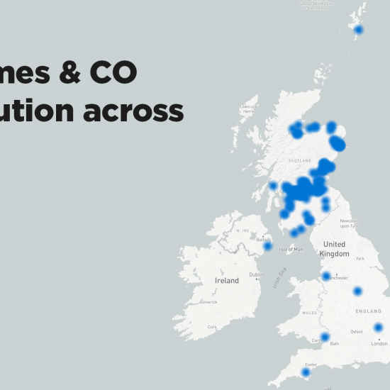 Ouctomes & CO Uk distribution map
