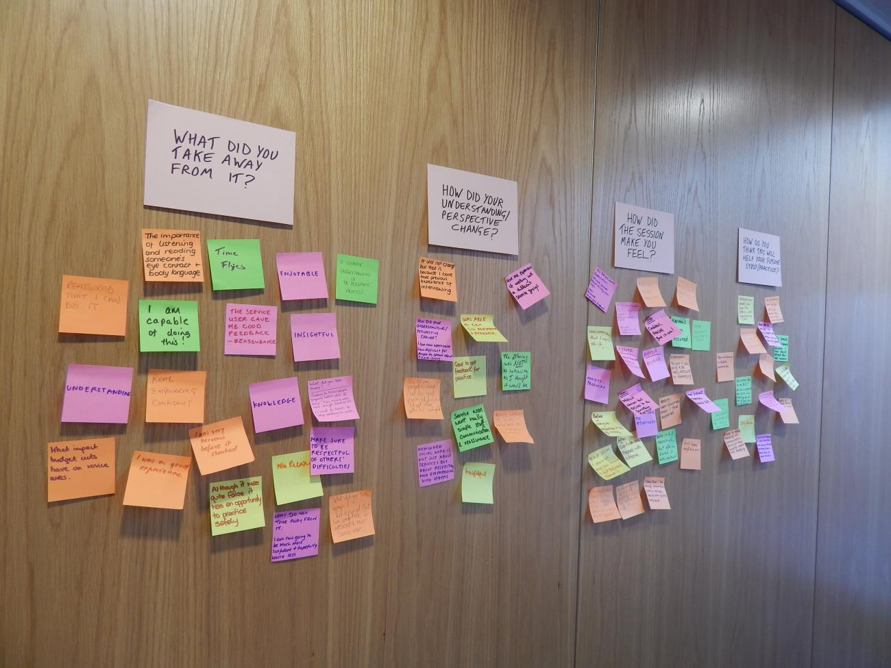 Post-it note responses from students before the discussion