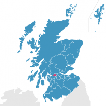 East Dunbartonshire on map of Scotland
