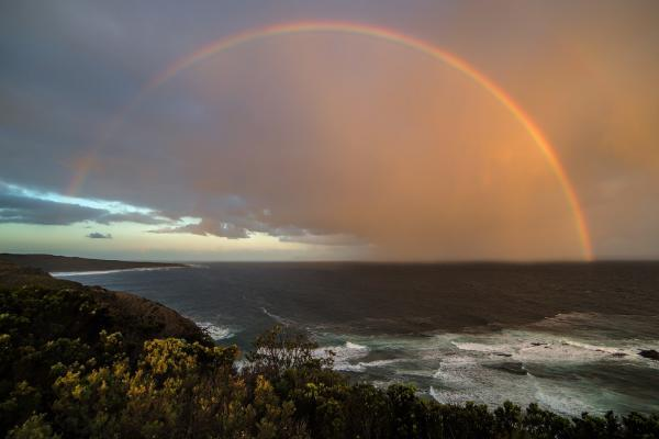 Image of a rainbow over seascape